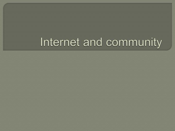 Internet and community
