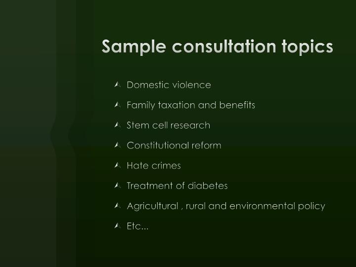 Sample consultation topics