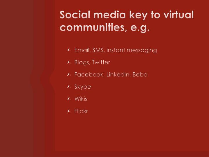 Social media key to virtual communities, e.g.