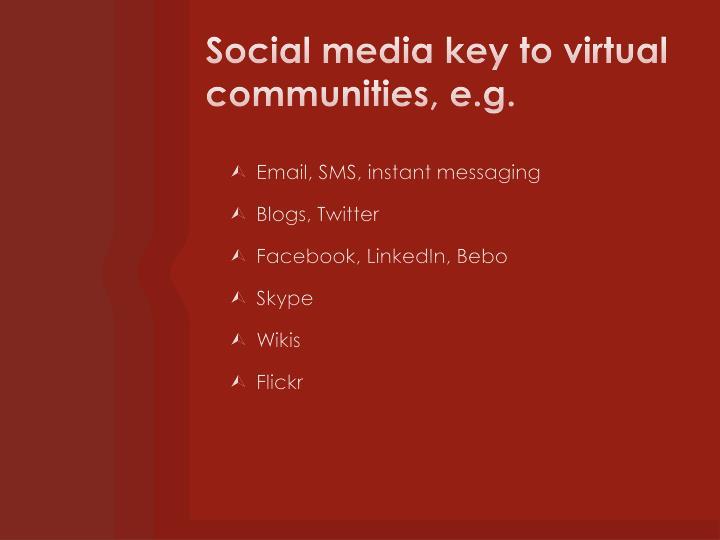 Social media key to virtual communities, e.g.