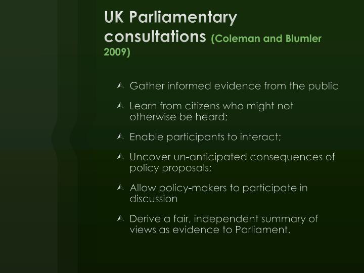 UK Parliamentary consultations