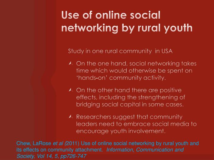 Use of online social networking by rural youth