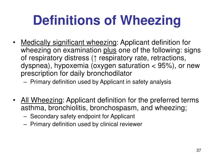 Definitions of Wheezing