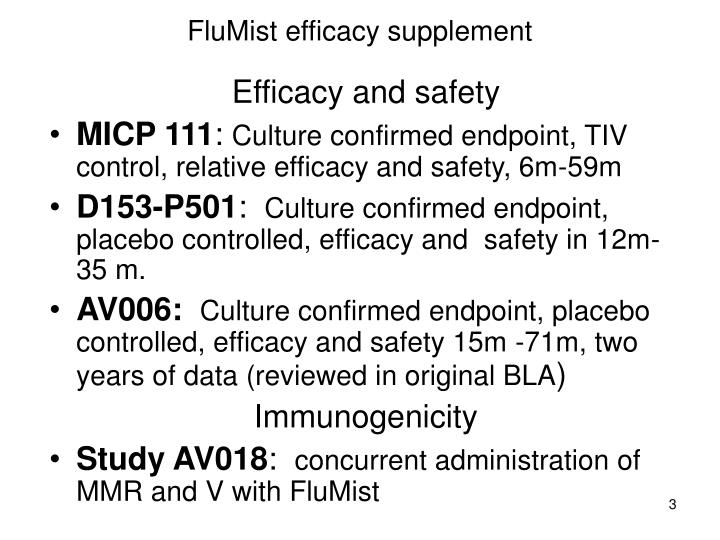 Flumist efficacy supplement