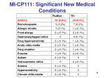 mi cp111 significant new medical conditions