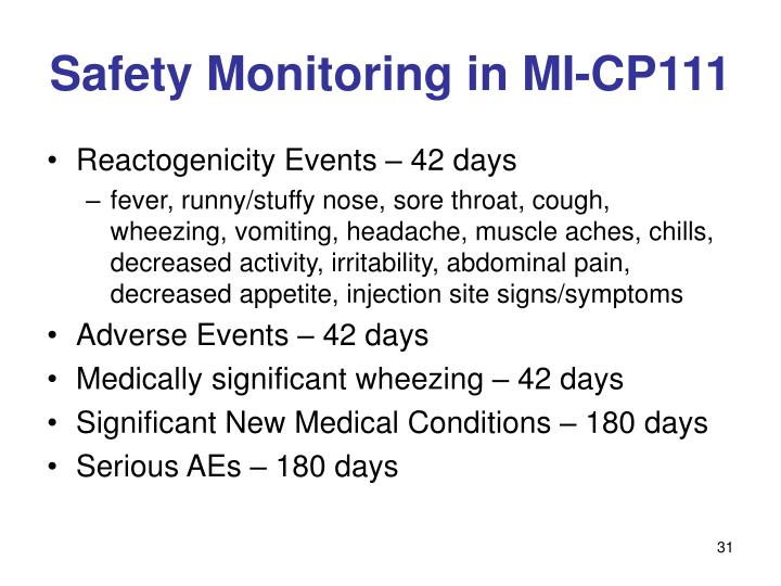 Safety Monitoring in MI-CP111