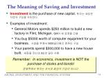 the meaning of saving and investment1