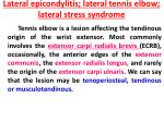 lateral epicondylitis lateral tennis elbow lateral stress syndrome