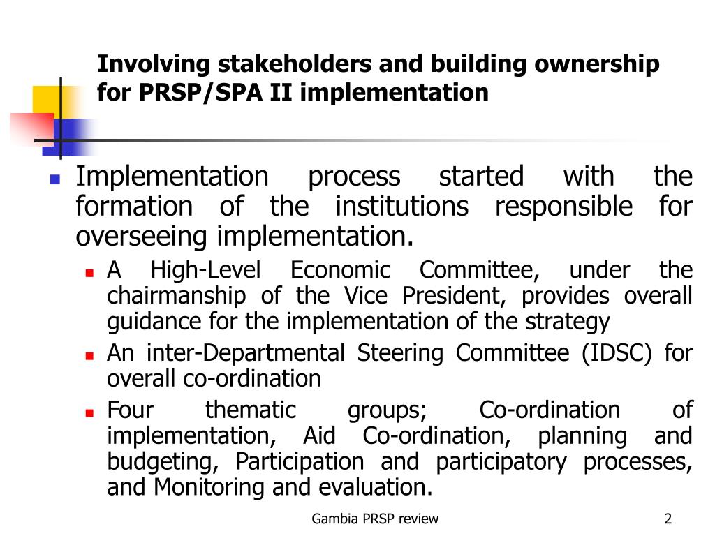 Involving stakeholders and building ownership for PRSP/SPA II implementation