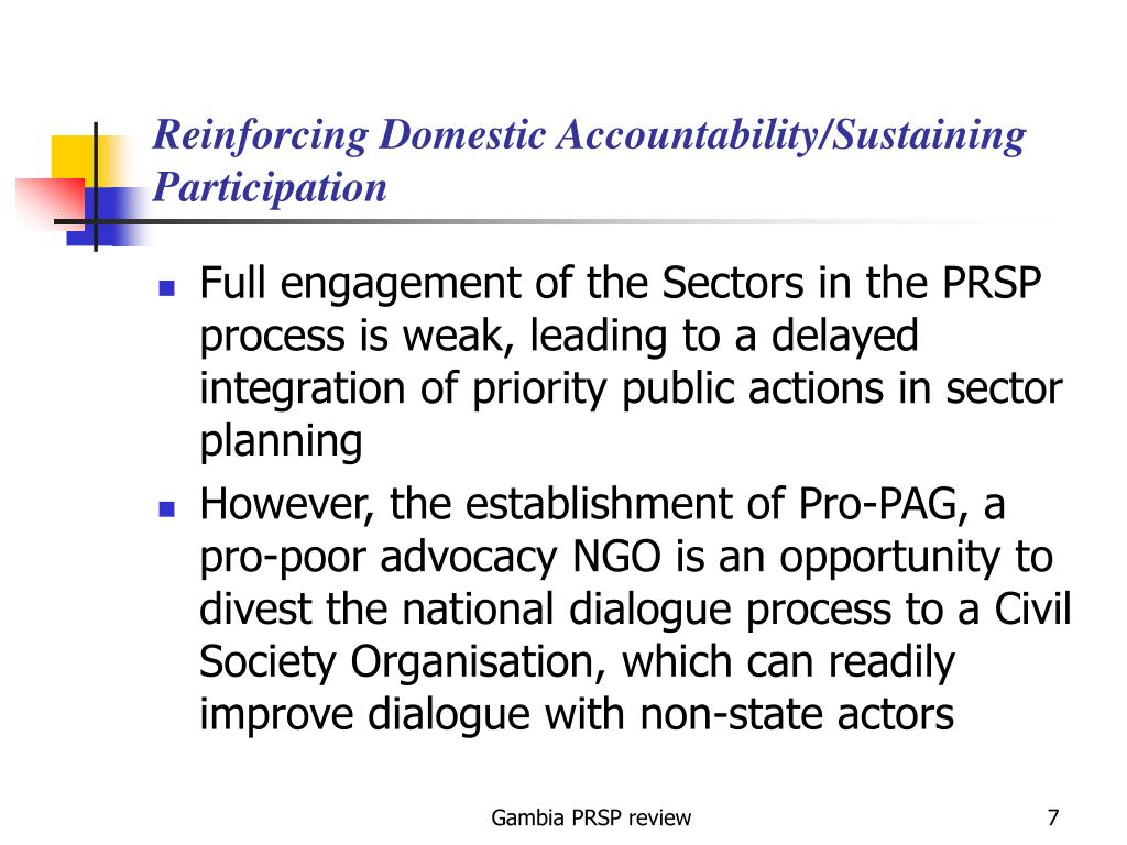 Reinforcing Domestic Accountability/Sustaining Participation