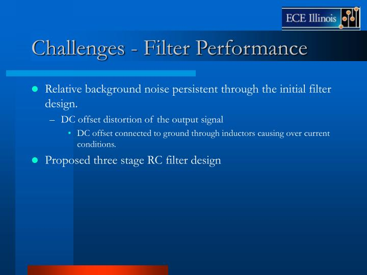 Challenges - Filter Performance