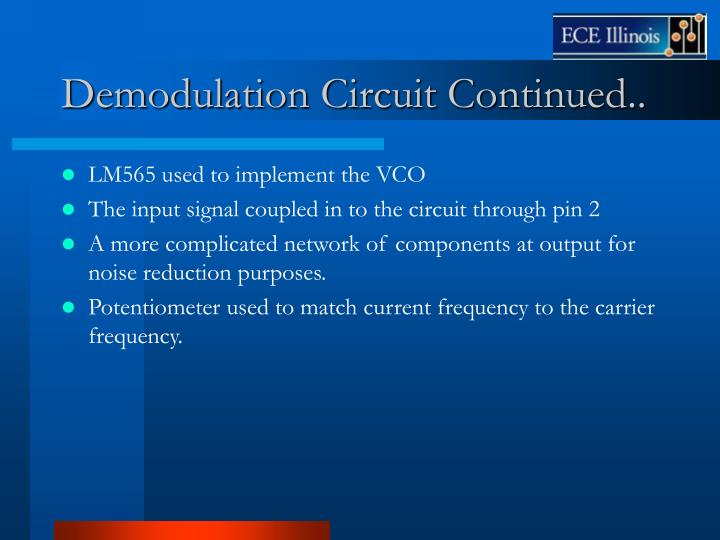 Demodulation Circuit Continued..
