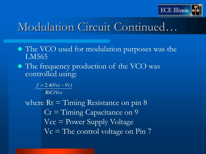 Modulation Circuit Continued…