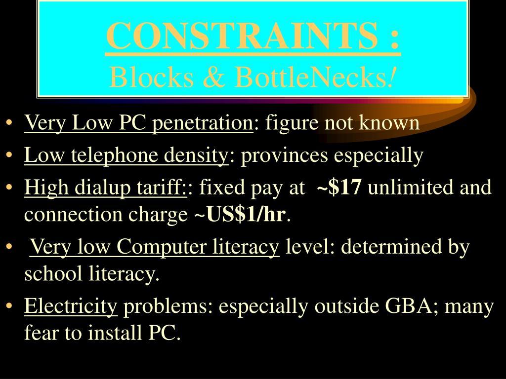 CONSTRAINTS :