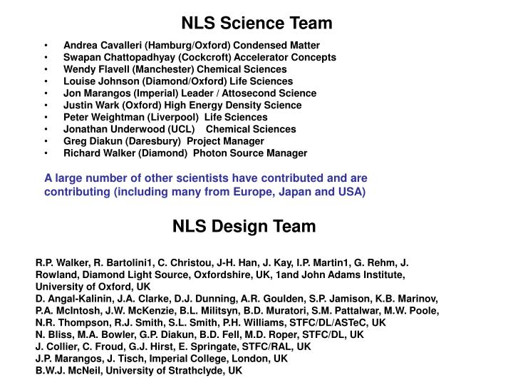 NLS Science Team