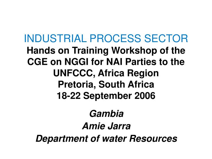 Gambia amie jarra department of water resources