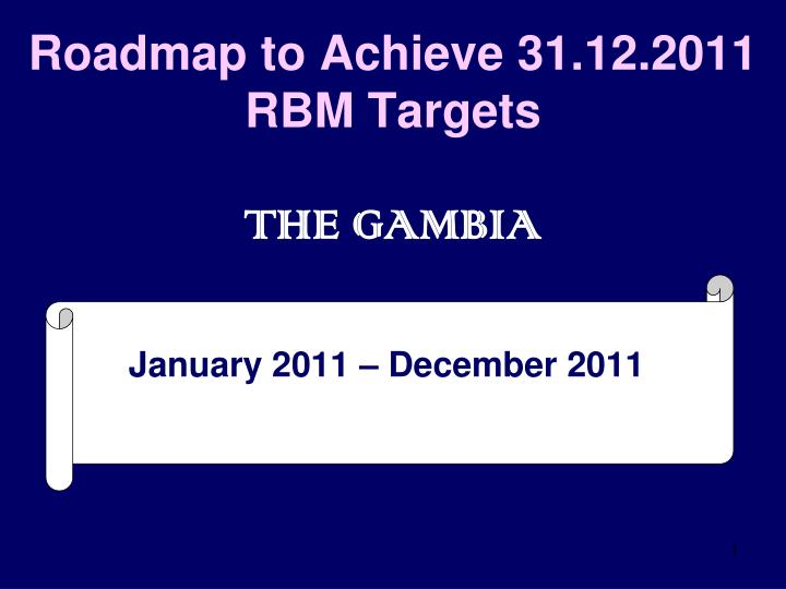 Roadmap to achieve 31 12 2011 rbm targets the gambia