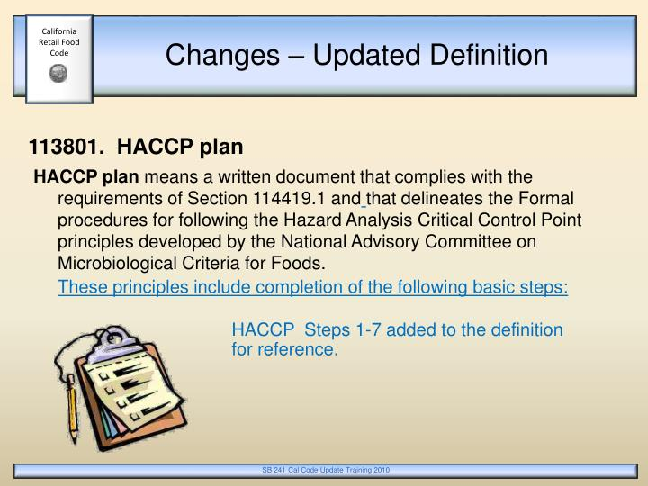 Ppt calcode and sb 241 summary of changes corrections - Haccp definition cuisine ...
