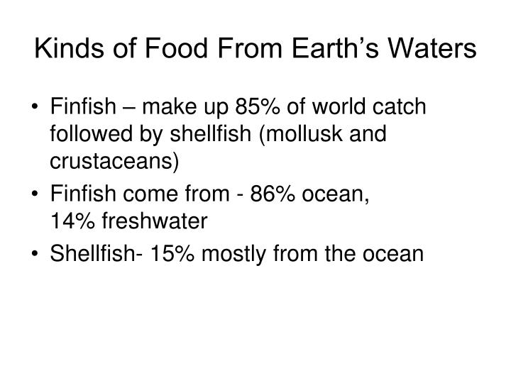 Kinds of Food From Earth's Waters