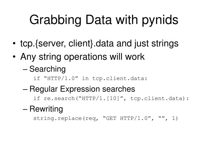 Grabbing Data with pynids