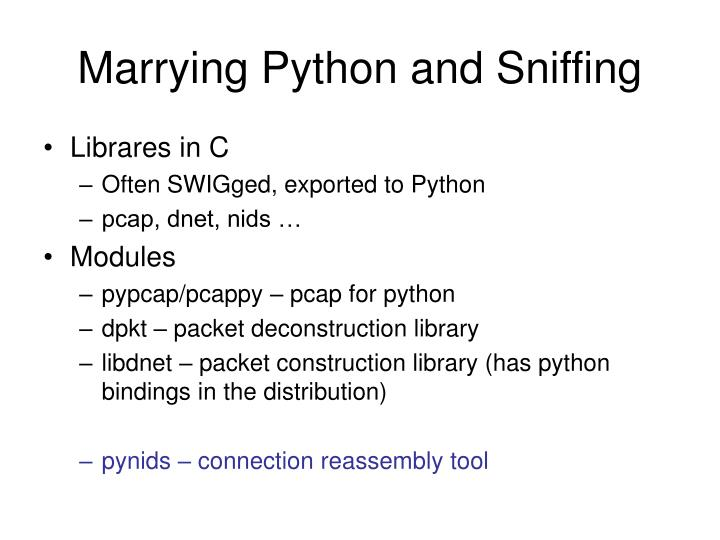 Marrying Python and Sniffing