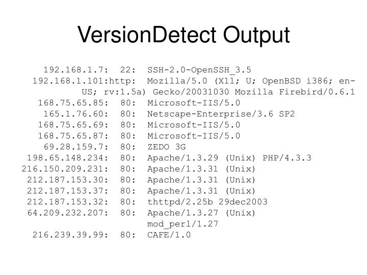 VersionDetect Output
