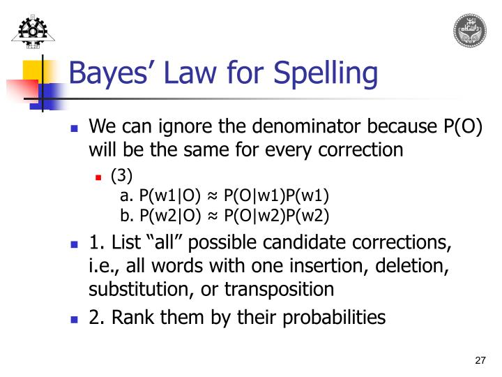 Bayes' Law for Spelling