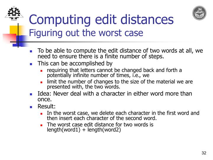 Computing edit distances