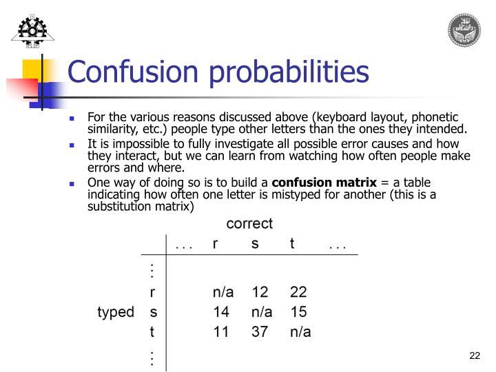 Confusion probabilities