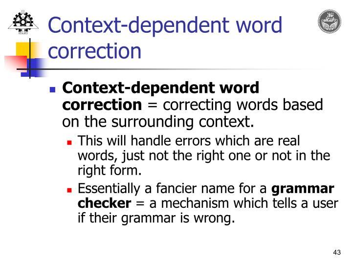 Context-dependent word correction