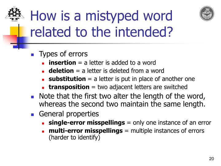 How is a mistyped word related to the intended?