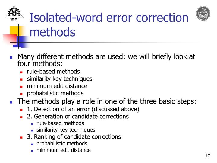 Isolated-word error correction methods
