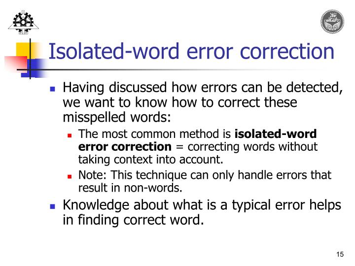 Isolated-word error correction