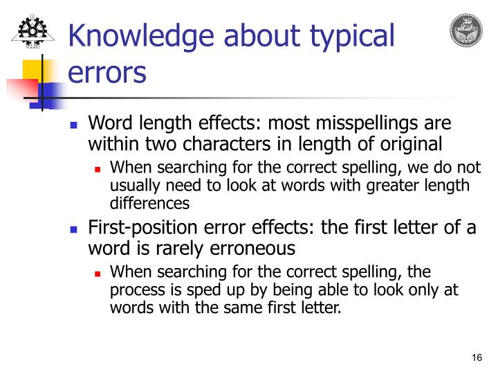Knowledge about typical errors