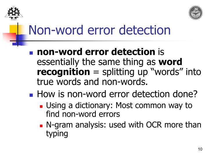 Non-word error detection