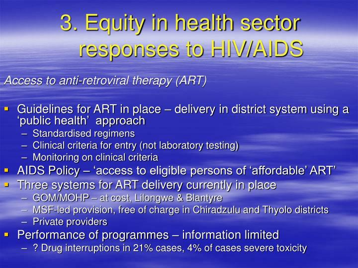 3. Equity in health sector responses to HIV/AIDS