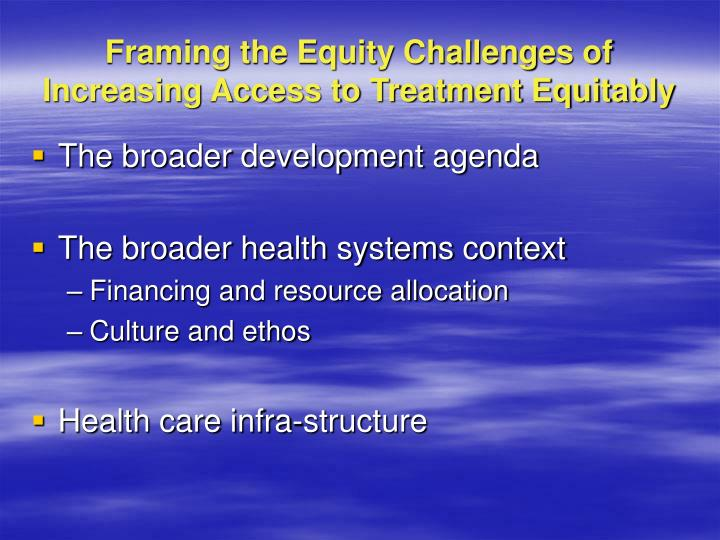 Framing the Equity Challenges of Increasing Access to Treatment Equitably