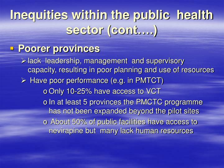 Inequities within the public  health sector (cont….)