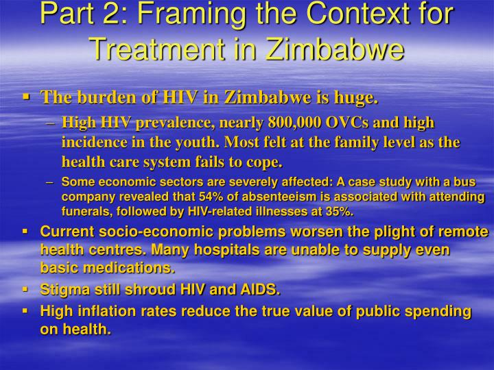 Part 2: Framing the Context for Treatment in Zimbabwe