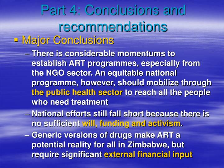 Part 4: Conclusions and recommendations
