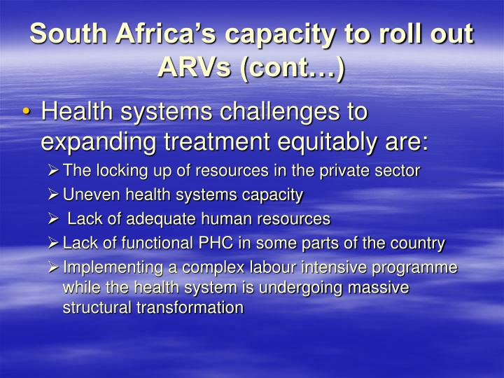 South Africa's capacity to roll out ARVs (cont…)