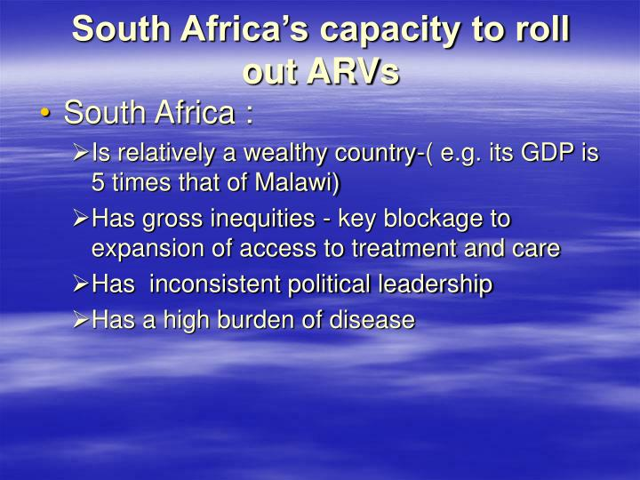 South Africa's capacity to roll out ARVs