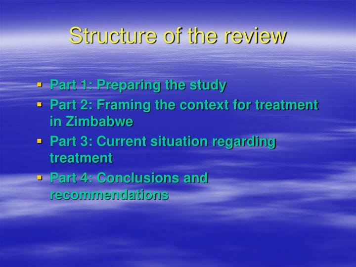 Structure of the review