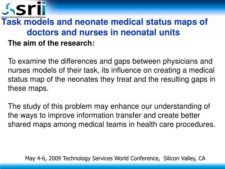 Task models and neonate medical status maps of doctors and nurses in neonatal units