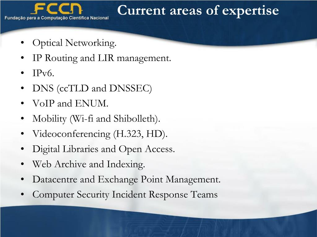 Current areas of expertise