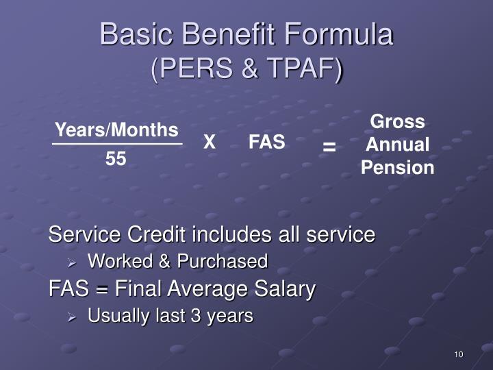 Basic Benefit Formula
