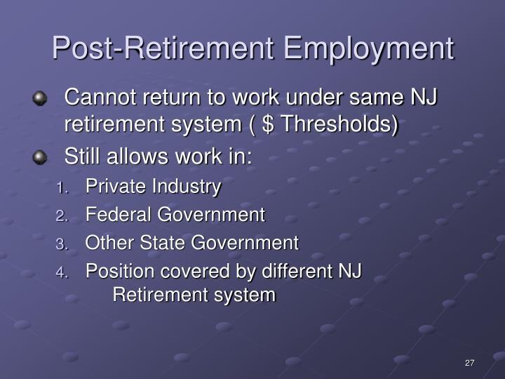 Post-Retirement Employment