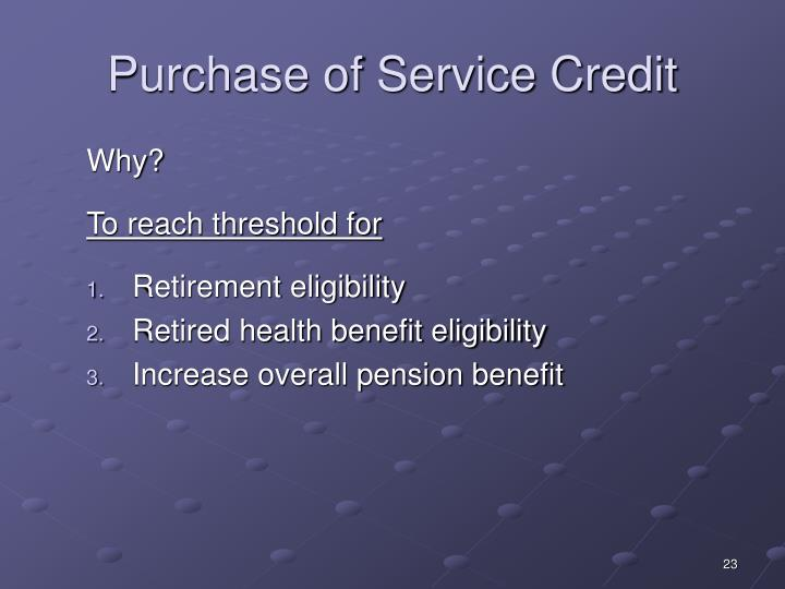 Purchase of Service Credit
