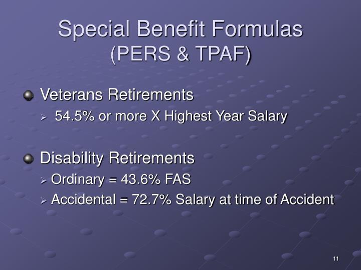 Special Benefit Formulas