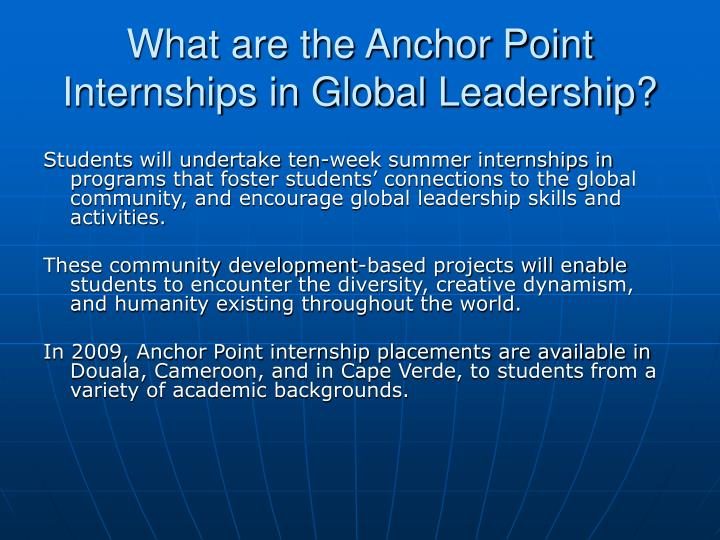What are the anchor point internships in global leadership